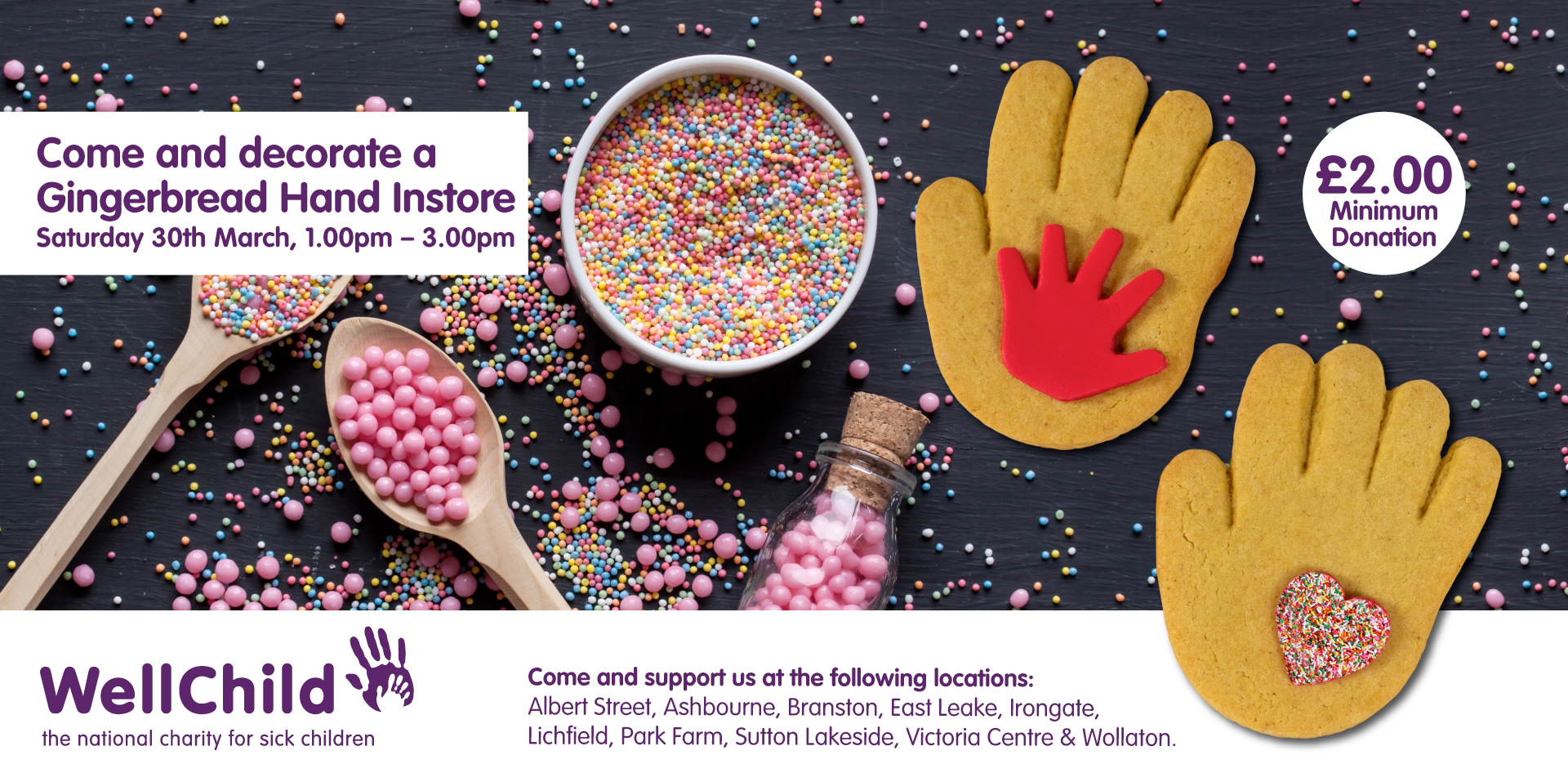 Come and decorate a Gingerbread Hand instore - Saturday 30th March, 1pm to 3pm