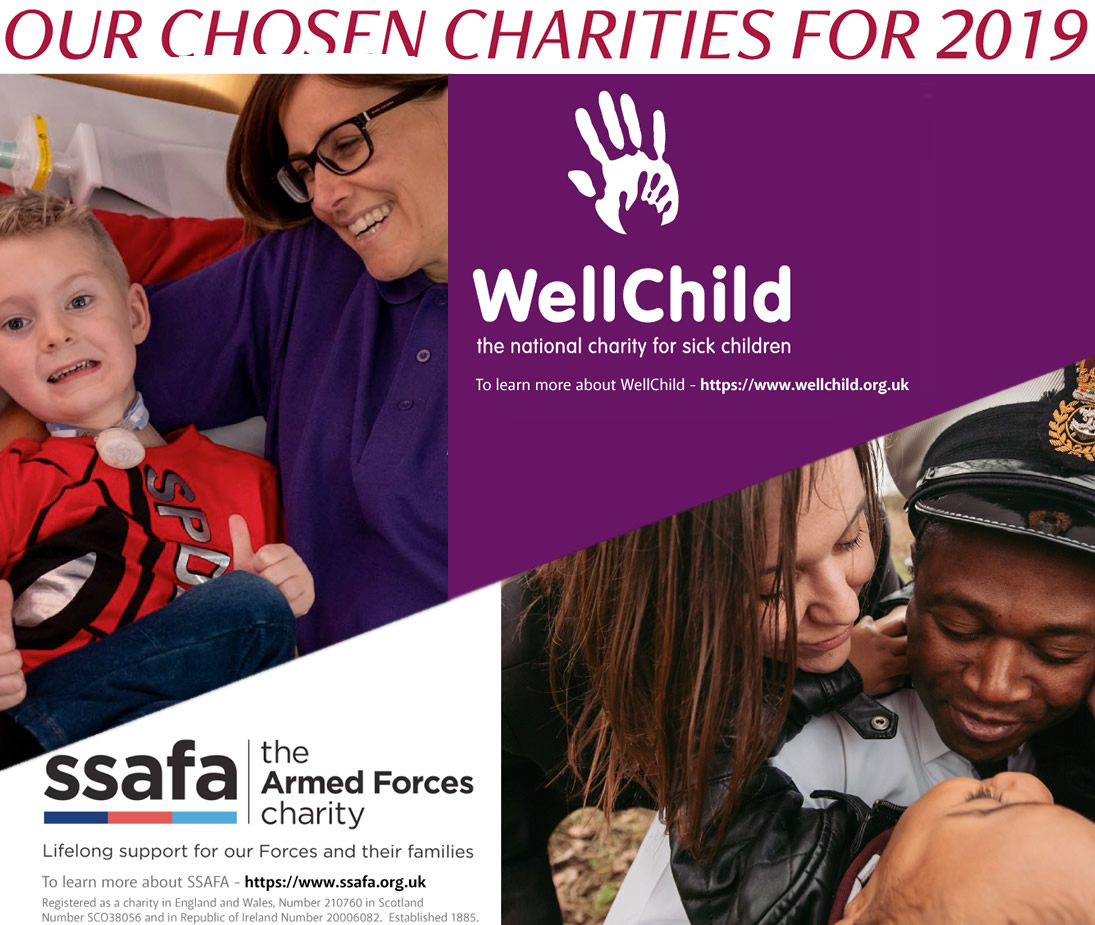 Our chosen charities for 2019 - WellChild and SSAFA